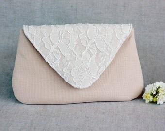 Blush Clutch Ivory Lace Bridesmaid Clutch, White Wedding Bridal Clutch, Wedding Bridesmaid Lace Handbag Clutch Wedding White Ivory Bride