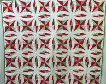 "Kate Spain Christmas  Quilt ! Measures  57 by 68 "" Perfect Holiday Gift Idea !"