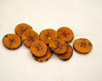 Set of 10 wooden buttons, Spalted birch wood, handmade buttons,Buttons of spalted wood,1,5 inch buttons,Branch buttons,Craft accessories  #3
