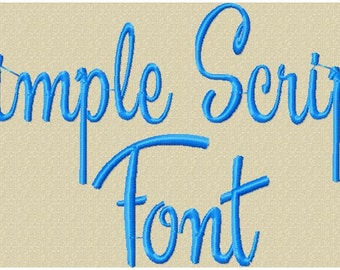 Simple Script  1,2, and 3 inch  Machine Embroidery Font -