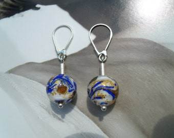 Murano glass beads cobalt blue gold earrings