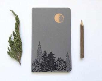 Letterpressed Moleskine Journal - Moon & Trees