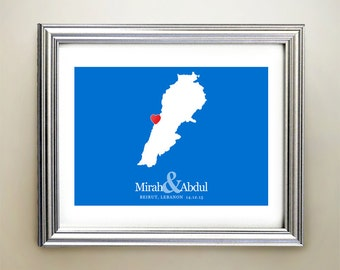 Lebanon Custom Horizontal Heart Map Art - Personalized names, wedding gift, engagement, anniversary date