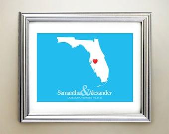 Florida Custom Horizontal Heart Map Art - Personalized names, wedding gift, engagement, anniversary date