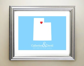 Utah Custom Horizontal Heart Map Art - Personalized names, wedding gift, engagement, anniversary date