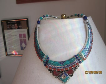 530ctw Genuine Napali Turquoise, Red Coral & Lapis Lazuli 925 Sterling Silver Necklace, 18 Inches Long, Wt. 107.9 Grams