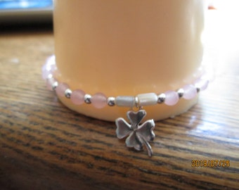 17.76ctw Genuine Pink Quartz & Mother of Pearl Clover Charm 925 Sterling Silver Beaded Bracelet, Wt. 5.6 G