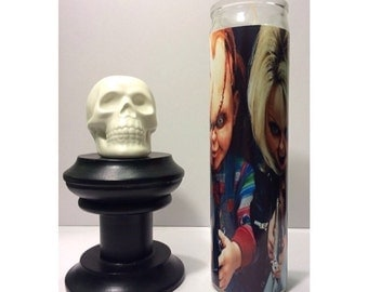 Bride of Chucky Tiffany and Chucky Prayer Candle