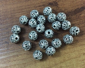 20pcs   x 8mm Antique Silver , Metal Beads , Metal Spacer, Tibetan Style Beads , Crafted  supplies findings