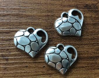 25pcs  12mm x 14mm Heart Charms , Heart  Pendant , Charms ,  Charms Bracelet
