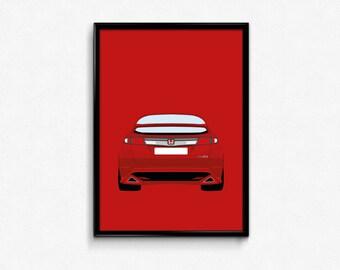 Honda Civic Type R A3 Print