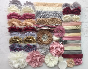 "Baby Shower Headband Kit ""Antique"", Baby Shower Headband Station, DIY Headband kit, Baby Girl Headbands, Baby Headband Kit"