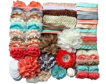 Sandy Beaches Headband Kit, Baby Shower Headband Station, DIY Headband kit, Baby Girl Headbands, Headband Kit Baby Shower