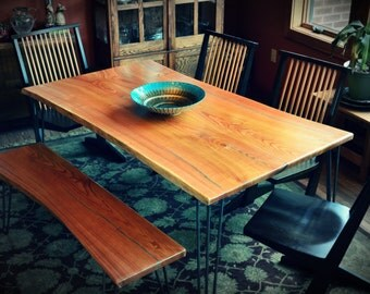 Bookmatched Natural Edge Slab Kentucky Coffeetree Dining Table With Turquoise lnlay