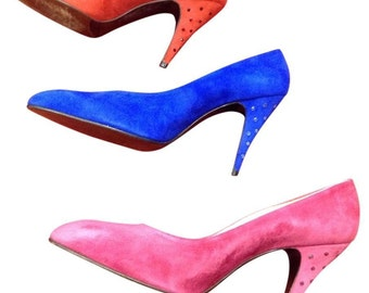 Stuart Weitzman for Martinique NEW Suede/Crystal Pumps Pink/Red/Blue Sz 9.5M