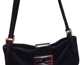 Fendi Signature FF Neoprene/Leather Bagette Bag w/ Double Adjustable Straps Silver Hardware