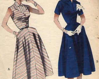 "Vintage 1950s Butterick Sewing Pattern 6802- Misses' Dress size 16 bust 34"""