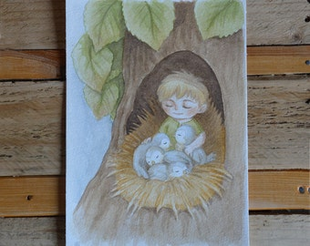 "Watercolor watercolor ART ooak ""Birdies guardian"" ""On the trees"