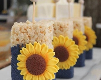 sunflower cake toppers wedding sunflower cupcakes etsy 7824