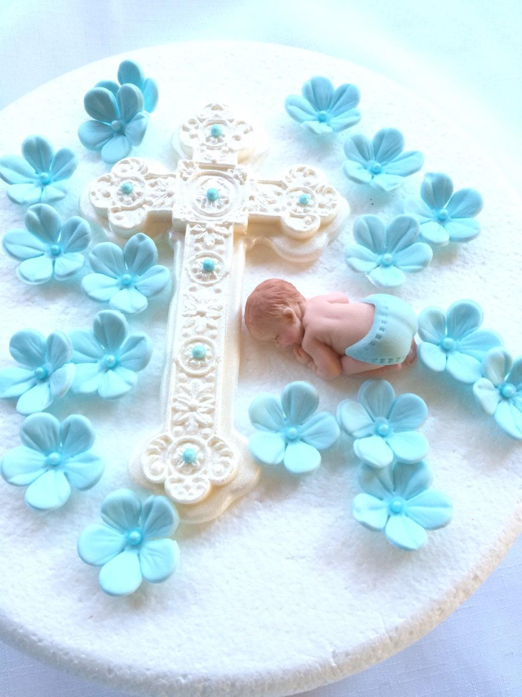 Edible Cake Decorations Baby Boy : Baby cake topper boy 20pcs edible fondant baptism christening