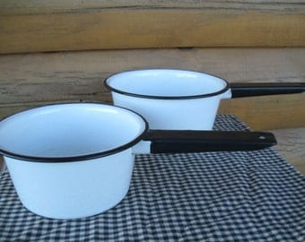 Pair White Enamelware Pots