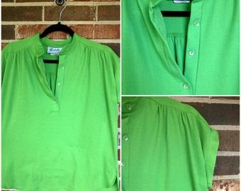Bright Green Retro Button-Up Blouse 12