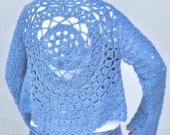 Crochet Jacket, summer must-have, in cotton, mother & child, made to order in any colour