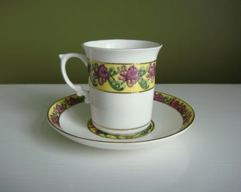 Vintage Tea Cup and Saucer - Demitasse Cup - Fine Bone China - Objects d'Art - Made in England - Epsteam