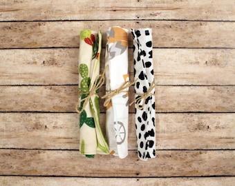 Baby Crinkle Paper Toy Bundle, Teething Toy, Sensory Baby Toy, Crinkle Paper Lovie, Cactus, Cacti-Dalmatian-Foxes