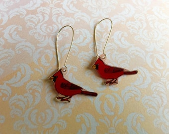 Hand Drawn and Colour Cardinal Bird, Shrink Plastic Earrings with Fish or Kidney Hook - Ready to Ship