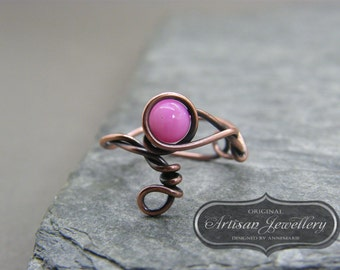 Adjustable ring ~ Pink stone ~  Wire wrapped ~ Copper ring ~ Handmade ~ Copper jewelry ~ Unique gift for sister ~ Unusual ladies ring ~