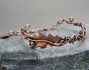 Copper leaf bracelet ~ Wire wrapped ~ Oak leaf ~ Bangles ~ Copper jewelry ~ Gift for her ~ Unique bracelet ~ Elfin jewellery ~ Faerie tale