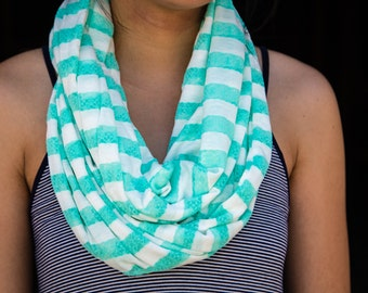 Mint Lace and White Striped Infinity Scarf
