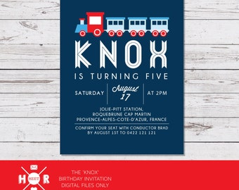 Printable - The 'Knox' Train Birthday Party Invitation | Choo Choo | Classic