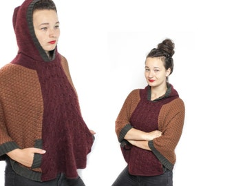 Hooded cape, Hooded poncho, Knit Poncho, Knit cape, Brown poncho, Vintage poncho, Vintage knit poncho, Womens Poncho, Womens cape ONE SIZE
