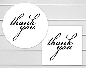 Thank You Labels, White Thank You Stickers, Printable Stickers (#114)