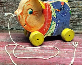 Vintage Fisher Price Pull Toy, Pudgy the Pig