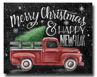 Merry Christmas Sign, Merry Christmas & Happy New year, Chalkboard Art, Chalk Art, Christmas Decor, Vintage Truck, Christmas Art