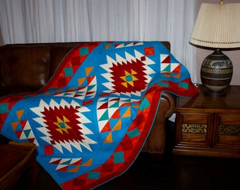 Southwest Quilt Pattern - Navajo Inspired / Indian / Native American quilt - Throw - finished size: 56'x 78'