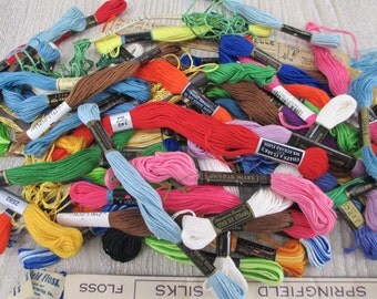 Mixed Lot 50+ Vintage Antique and New Embroidery Floss Silk Pearl Cotton Thread Victorian 1920s New Crafting Sewing Notions