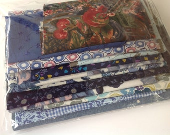 New and vintage blue fabric scrap pack for small crafts projects quilting patchwork appliqué