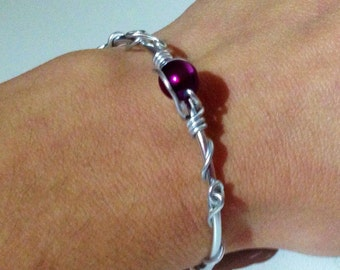 Creating fine interleaving of aluminum wire and Pearl Bangle Bracelet purple purple arabesque aluminium