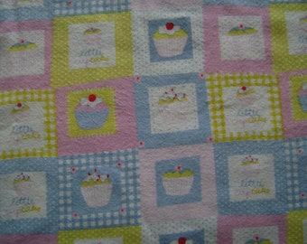 Rockaby Cupcake Multi Flannel Fabric by the yard