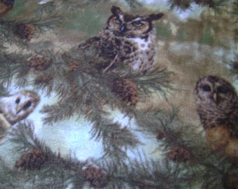 Owls of Wonder Fleece Fabric Sold by the Yard