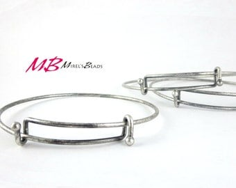 Antique Silver Plated Adjustable Bangle with Ball Ends, Bangle Bracelet
