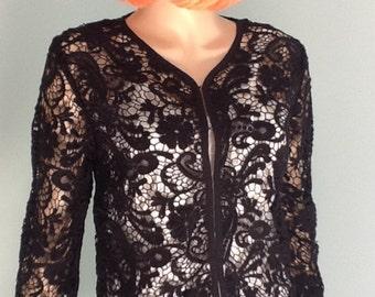 Black Cotton Lace Jacket -Size M