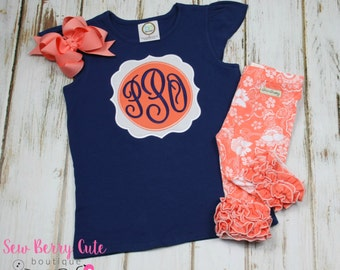 Monogrammed Flutter Tank M2M the Paisley Sew Sassy Boutique Icing Capris