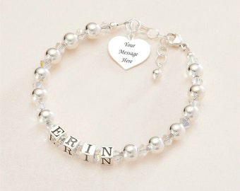 Engraved Name Bracelet for Girl. Personalised with any Girls Name. Sterling Silver.