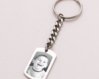 Photo Engraved Dogtag Keyring. Engraving of Any Image. Personalised Gift for Man.