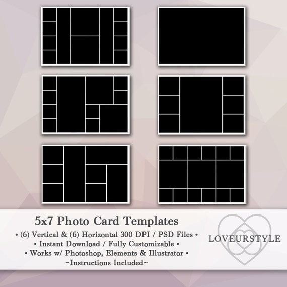 5x7 photo template pack 12 templates photo collage for 5x7 postcard mailing template